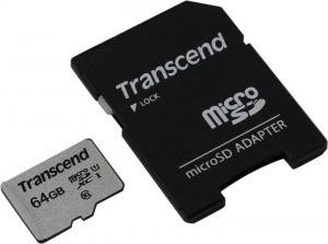 Transcend <TS64GUSD300S-A> microSDXC Memory Card 64Gb UHS-IU1+microSD-->SD Adapter