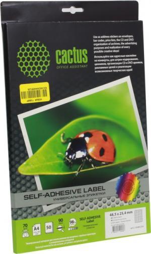 Cactus <С-30485254> (A4, 50 листов, 40 частей, 70 г/м2)бумага самоклеящаяся
