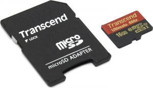 Transcend <TS16GUSDHC10U1> microSDHC Memory Card 16Gb UHS-I Class10 +microSD-->SD Adapter