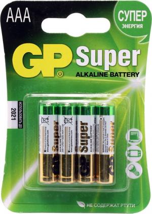 Батарейка AAA GP Ultra/Super 24AU/24A-4 (LR03), щелочной  (alkaline)