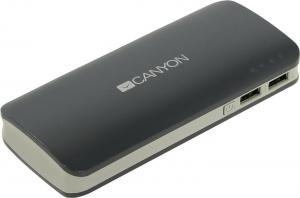 Внешний аккумулятор CANYON <CNE-CPB130DG> Dark Gray(2xUSB2.4A,13000mAh, Li-Ion)