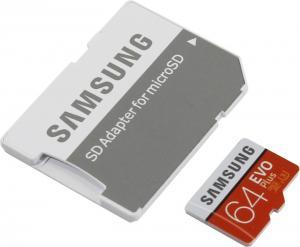 SDXCmicro 64Gb Samsung EVO Plus <MB-MC64GA/RU> Memory CardClass10 UHS-I U3+ microSD-->SD Adapter