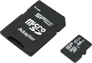 Silicon Power <SP064GBSTXBU1V10-SP> microSDXC Memory Card 64Gb UHS-I U1 +microSD-->SD Adapter