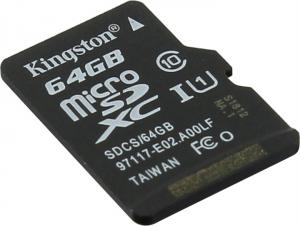 64Gb Kingston <SDCS/64GBSP> microSDXC Memory  Card  UHS-I U1