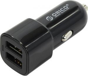 Orico <UCL-2U-BK>Автомобильное зарядное уст-во USB (Вх. DC12-24V,Вых. DC5V, 2xUSB2.4A)