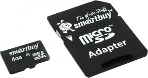 SmartBuy <SB4GBSDCL4-01> microSDHC 4Gb Class4 +microSD-->SD Adapter