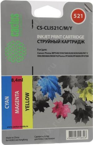 Набор картриджей Cactus CS-CLI521C/M/Y для Canon PIXMAMP540/550/620/630/640/980/990,MX860, iP3600/
